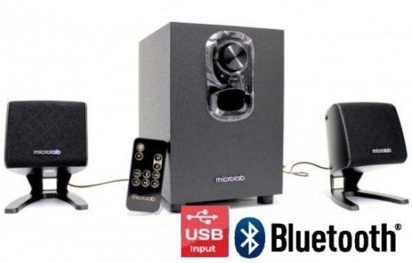 Microlab M-108BT Aktivni drveni zvucnici 2.1 11W RMS(5W, 2x3W) BLUETOOTH USB, IR daljinski 3.5mm