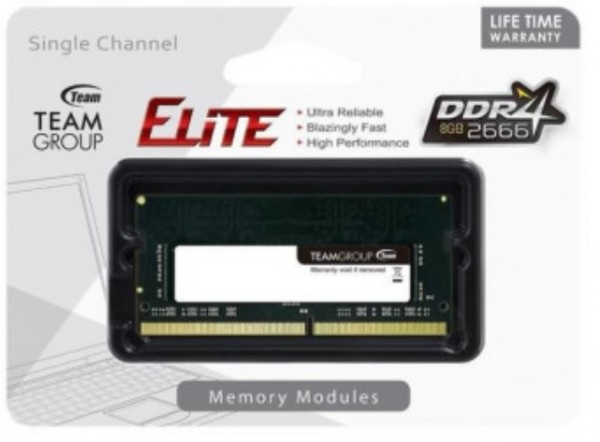 TeamGroup DDR4 TEAM ELITE SO-DIMM 8GB 2666MHz 1.2V 19-19-19-43 TED48G2666C19-S01