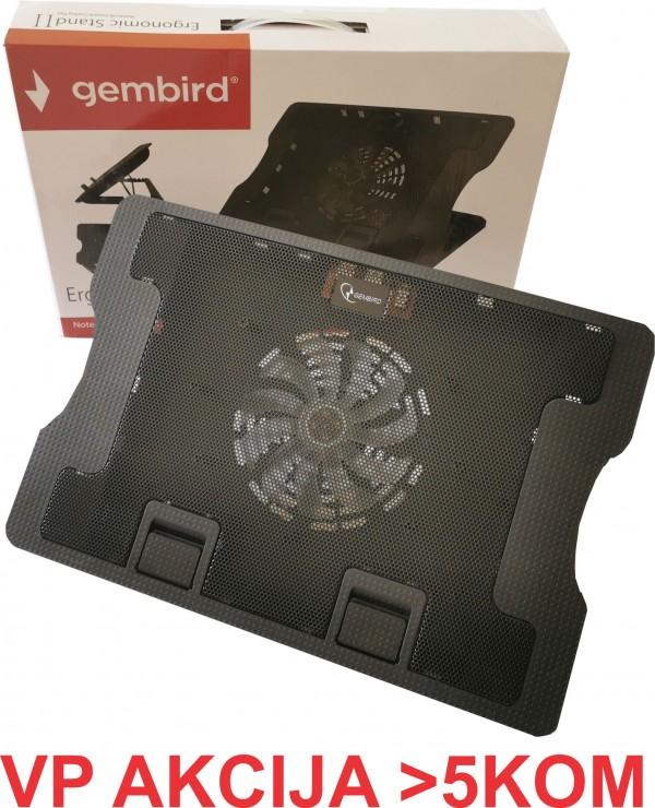 N2000FS** Gembird hladnjak za laptop 15-17'' 140mm Fan-CONTROL, 2xUSB, 370x265mm, Ergo Stand(599)