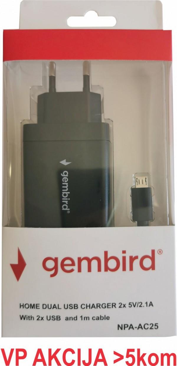 NPA-AC25 ** Gembird punjac za telefone i tablete 5v 2.1A+1A 2xUSB +micro USB DATA kabl 1M(279)