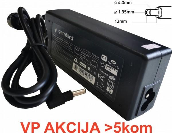 NPA65-190-3420 (AS14) ** Gembird punjac za laptop 65W-19V-3.42A, 4.0x1.35mm black (655)
