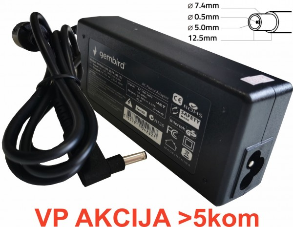 NPA90-195-4620 (DE10) **Gembird punjac za laptop 90W-19.5V-4.62A, 7.4x5.0mm black PIN (890)
