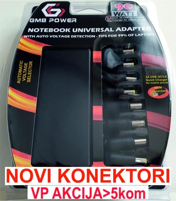 NPA-AC5D **Gembird  laptop punjac AC 90W + QC3.0 mobilni punjac quick charge 3A, auto-voltage (1270)