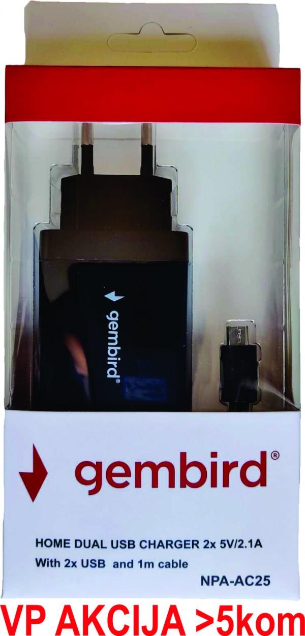 NPA-AC25 ** Gembird punjac za telefone i tablete 5v/2.1A+1A 2xUSB +micro USB DATA kabl 1M(263)