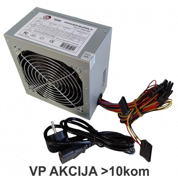 GMB-560-12 bez kutije ** Gembird napajanje 560W 12cm FAN, 20+4pin, 4pin 12V,2xSATA 2xIDE (999)