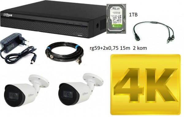 DAHUA-04 SET 2 KAMERE AUDIO!!!  8 mpx + DVR 1TB