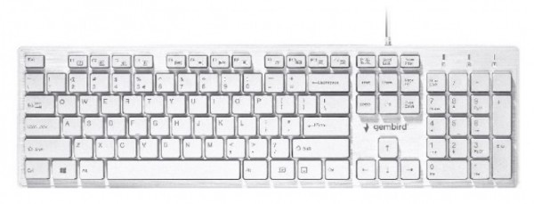KB-MCH-03-W Gembird Multimedia chocolate, keyboard, USB, US layout, Slim white