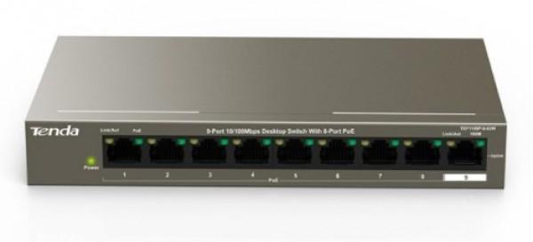 Tenda TEF1109P-8-63W LAN Switch 9-Port 10/100 POE +1 Gigabit RJ45 ports
