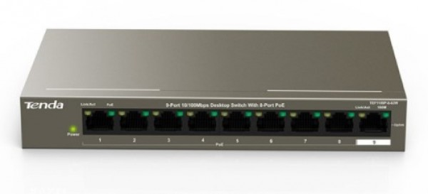 Tenda TEF1109P-8-63W LAN 9-Port 10/100 POE +1 Gigabit RJ45 ports