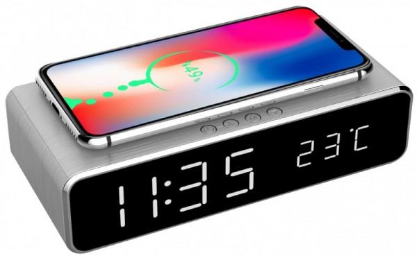 DAC-WPC-01-S Gembird Digitalni sat + alarm sa bezicnim punjenjem telefona, Silver