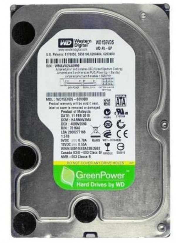 HDD 3.5'' * 1.5TB WD15EVDS WD AV-GP Green IntelliPower 7200RPM 32MB SATA (3499)
