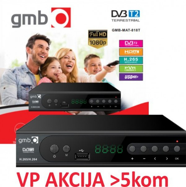 GMB-MAT-818T **DVB-T2 SET TOP BOX USB/HDMI/Scart/RF-out, PVR,Full HD, H265, hdmi-kabl, modulator1486