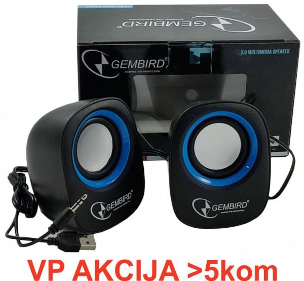 SPK-111 ** Gembird Stereo zvucnici black/black, 2 x 3W RMS USB pwr, 3.5mm kutija sa prozorom (359)