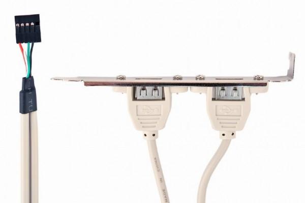 CCUSBRECEPTACLE Gembird Double USB Receptacles on bracket 25cm