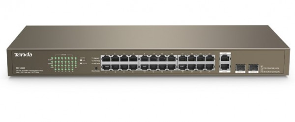 Tenda TEF1026F LAN 24-Port 10/100M + 2 Gigabit Base-X SFP ports, Desktop or rack mount switch