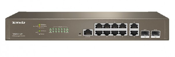 Tenda TEG5312F LAN 10-Port10/100/1000M Base-T +2 Base-X SFP Ethernet ports Desktop/wall mount switch