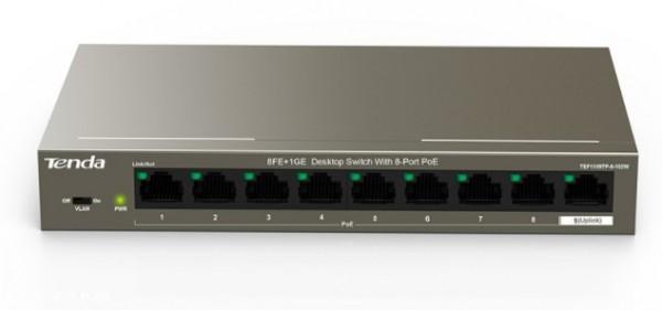 Tenda TEF1109TP-8-102W LAN 8-Port 10/100 Base-TX(Data/Power) +1Base-TX(Data) Ethernet ports Switch