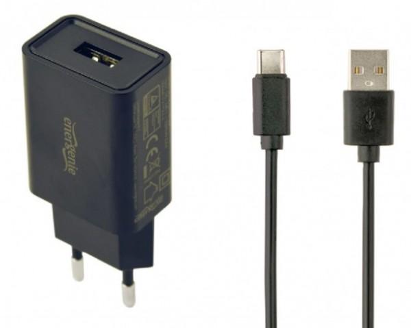 EG-UCSET-C-MX CRNI Gembird punjac za telefone i tablete 5V/2.1A USB Type-C USB kabl 1M