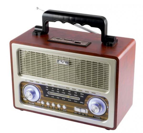 Radio prijemnik RRT3B prenosni retro 2x3W, FM, USB, microSD, Bluetooth, baterija 1300mAh