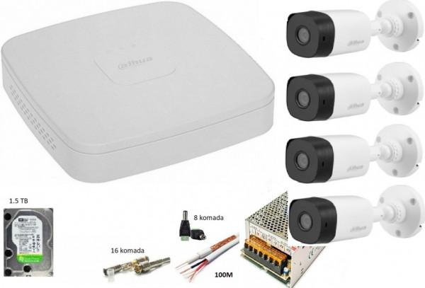 Dahua-11 Dvr 8 kanala + 4 kamere full hd+1.5tb+100m rg59+2x0.75 kabla