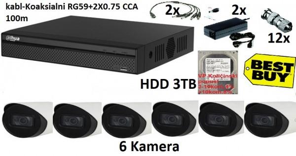 DAHUA-12   6 KAMERE FULL HD 3TB HDD 100M RG59+2X0,75 napajanje 2x 12v/5a