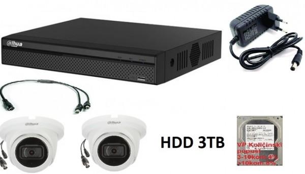 Dahua-13* 2 kamere full hd dome+dvr+hdd+napajanje 3tb Tehnicki pregled (15882)