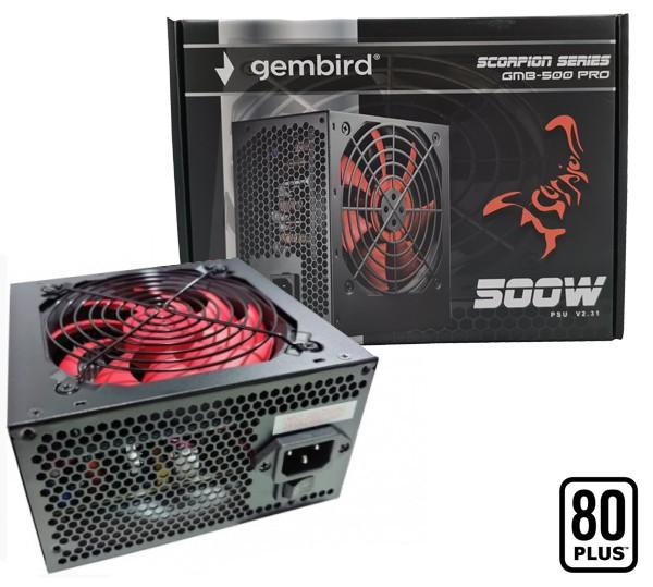GMB-500-PRO Gembird napajanje 500W 80+, PFC,12cm FAN, 20+4pin, 2x4pin, 6+2pin, 4xSATA,2xIDE