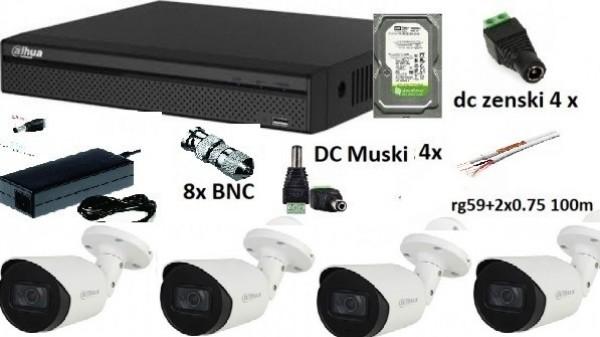 Dahua-14 4 kamere Ful hd 2tb hdd napajanje 12v/5a svi konektori