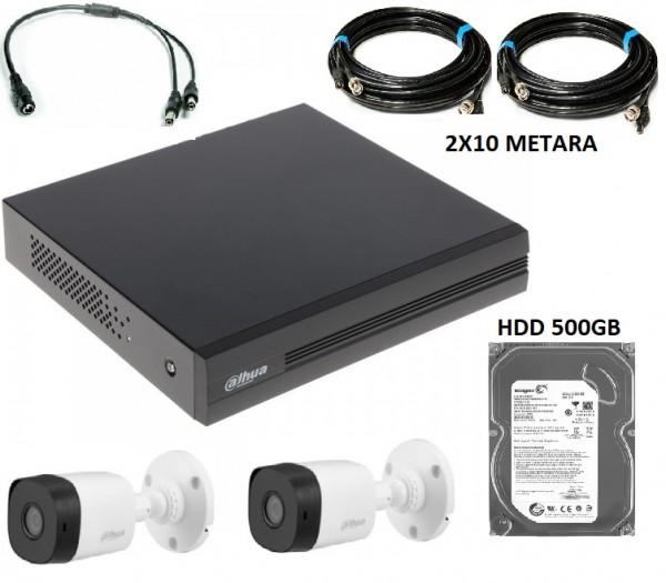 Dahua-15 DVR* 4CH+ 2X HAC-B1A21-0360B + 2XRG59+2X0.75 SA NAPAJANJEM+500GB HDD NAPAJANJE (11.080)