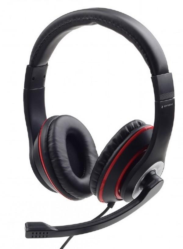 MHS-03-BKRD Gembird Slusalica sa mikrofonom, 1x3.5mm black/red
