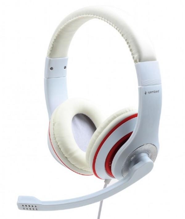 MHS-03-WTRD Gembird Slusalica sa mikrofonom, 1x3.5mm white/red